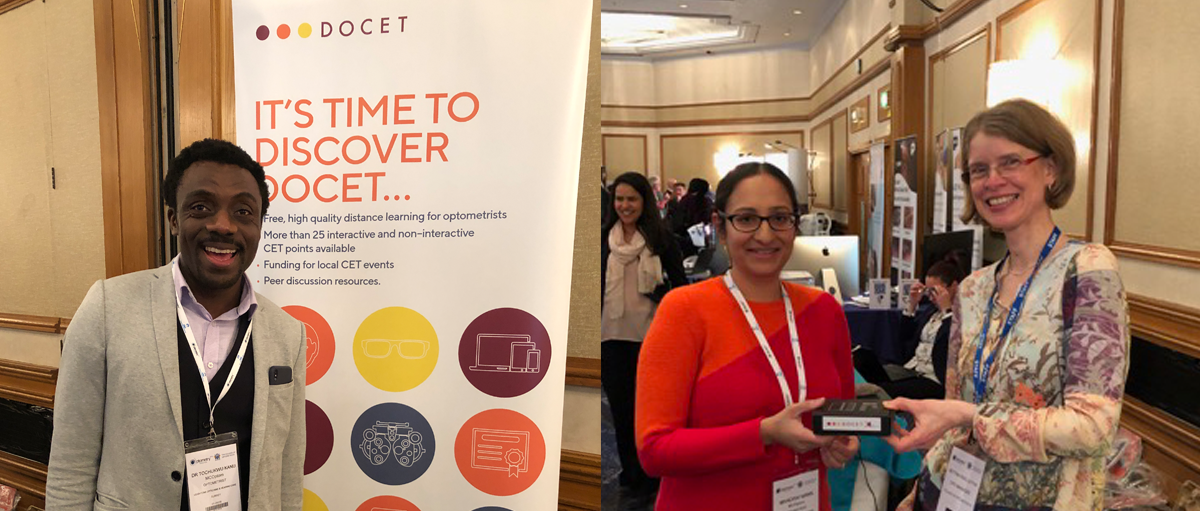CPD Manager Bettina Noelle-Fox presents prizes to some lucky winners at Optometry Tomorrow 2019 in Birmingham